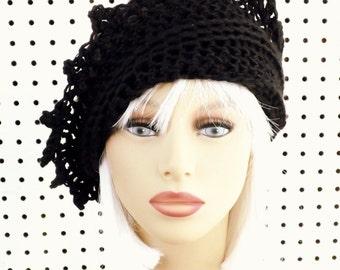 LAUREN Black Crochet Beanie Hat for Women, Black Crochet Hat Womens Hat, Womens Crochet Hat, Black Hat, Crochet Hat