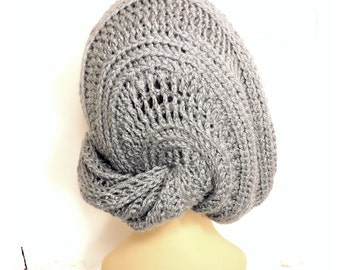 Womens Crochet Hat, Womens Hat Trendy, Slouchy Hat, Slouchy Beanie Hat, Gray Hat, Lunch Lady Crochet Slouchy Beanie Hat
