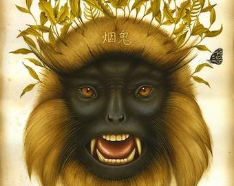 Monkey art print - Lotus Eater  - Limited Edition Print - Watercolor painting, bird print