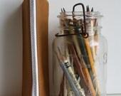 The Zipper Pencil Case - chestnut + sun burst