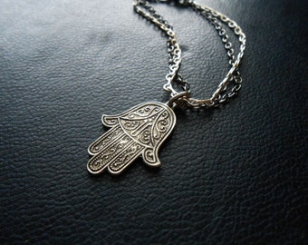 reduced - wanderlust: morrocco - filigree hamsa morrocan souvenir charm - silver and gunmetal apotropaic charm bracelet