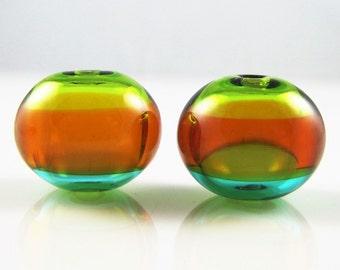 Triple Colors Hollow Lampwork Glass Bead Pairs