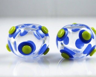 Clear with Spots and Dots Hollow Lampwork Glass Bead Pairs