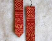 Screen Printed Leather Earrings-Sun Totem