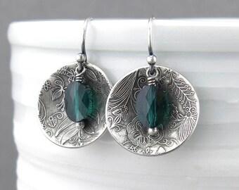 Emerald Earrings Green Crystal Earrings Silver Drop Earrings Bohemian Jewelry Silver Jewelry Gift Idea for Her - Contrast