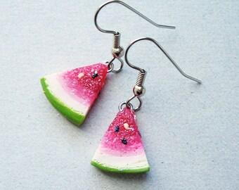 Juicy Watermelon Slice Dangle Earrings - polymer clay miniature food jewelry