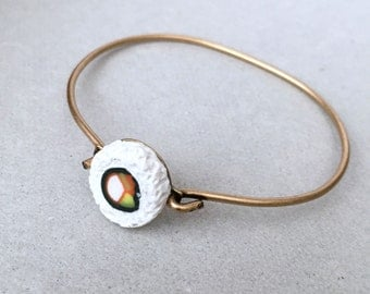 Sushi California Roll Bangle Bracelet - polymer clay miniature food jewelry