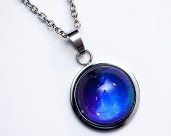 Nebula no. 02 High Dome Stainless Steel Necklace, Space Jewelry, Space Necklace, Wearable Art, Nebula Necklace, Nebula Jewelry