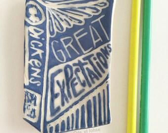 Ceramic Great Expectations by Dickens • handmade mini decorative book plate • dish • sgraffito • ooak • clay• art • literature • bibliophile