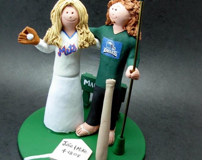 Philadelphia Eagles Football Wedding CakeTopper, New York Mets Wedding Cake Topper, New York Mets Baseball Wedding Anniversary Gift
