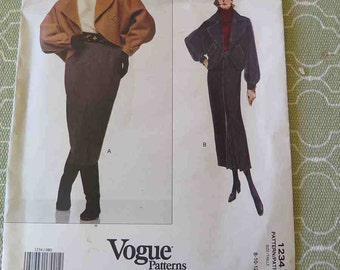 Vintage Vogue 1234 BILL BLASS American Designer Misses Jacket and Pencil Skirt Sewing Pattern size 8 10 12 UNCUT