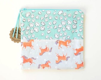 Frisky Horses + Popcorn Clouds Flat Patchwork Pouch | Teal/Blue Original Fabric