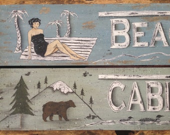 Beach or Cabins.  art prints. Retro vintage rustic distressed. Woods Lake Cottage decor. Arrows, bathing beauty, bear, loons by Donna Atkins