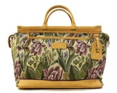 80s Floral Tapestry Tote / Vintage 1980s Carpet Bag /  Carry On Weekender Travel Purse / Fabric Mary Poppins Train Case / Hippie Boho