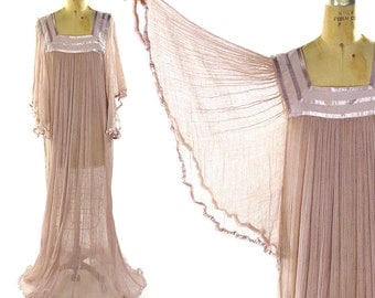 60s Cotton Gauze Dress with Angel Wing Sleeves / Vintage 1960s Sheer Mexican Goddess Hippie Boho Bohemian Festival Wedding Maxi by Mario