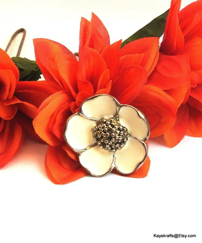 flower ring white flower ring vintage white ring