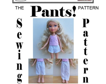 "Simple Pants Sewing Pattern for 9"" Bratz doll by Susan Bischoff and Dolly Delicacies PDF Download"