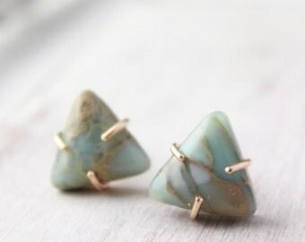 Sediment Jasper Triangle Post Earrings in Gold