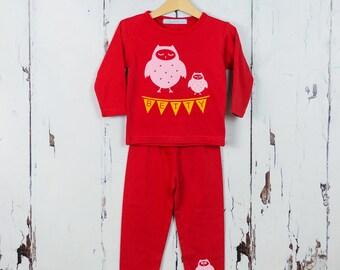 Personalised Owl Pajamas|kids pajamas|girls pjs|boys pjs|personalised gift|nightwear|birthday gift|childrens pyjamas|baby gift