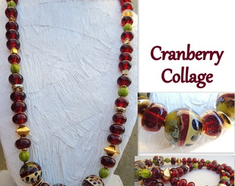 CRANBERRY COLLAGE Handmade Lampwork Necklace