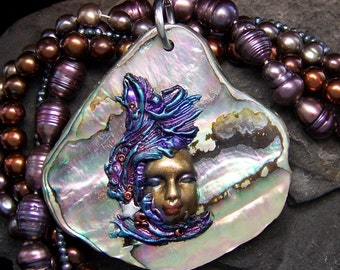 Wishing Star Sea Goddess Pendant or Bead Polyemer clay on Paua Shell a handmade OOAk Cameo