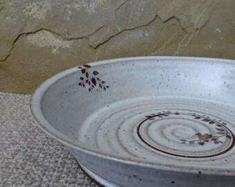 "Deep Pie Plate 10"" - Handmade Stoneware Ceramic Pottery - White - Branch"
