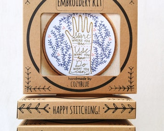 START HERE embroidery kit - start where you are, use what you have, do what you can, arthur ashe quote, hand embroidery pattern, DIY kit