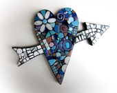 XO Heart With Arrow. (A Handmade Mixed Media Mosaic Wall Hanging by Shawn DuBois)