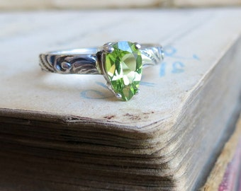 Peridot Engagement Solitaire Ring Stacking Gemstone Ring Pear Shaped Green Ring Sterling Silver August Birthstone Ring