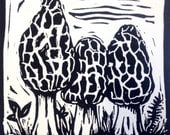 Morel mushrooms linocut p...