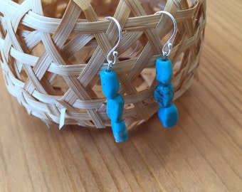 Rough shaped turquoise earrings short