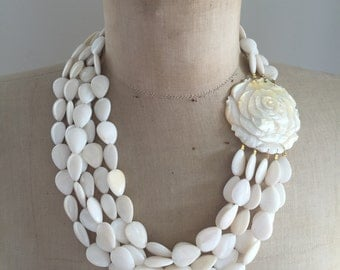Mother of Pearl, Statement Necklace, Mult Strand Necklace