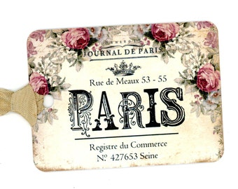 French Gift Tags , Vintage French , Paris Tags , Crown Tags , Rose Tags , Journal de Paris , Pink and Cream , Vintage Paris
