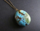 Janis. Turquoise Pendant on Brass Chain, Simple Layering Necklace