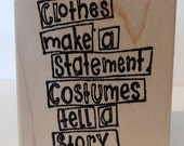 costumes text wood mounted rubber stamp