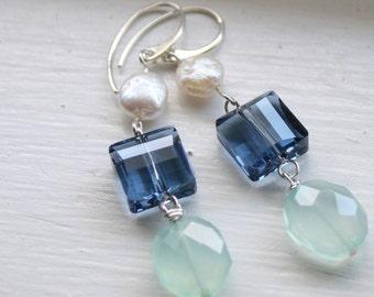 Prehnite, Swarovski Crystal and Freshwater Pearl Earrings, Sterling Silver