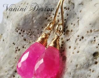 Hot pink,14k Gold fill dangle drop earrings
