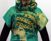 HEMP Cowl Neck Cropped Sweatshirt Silkscreened Textile