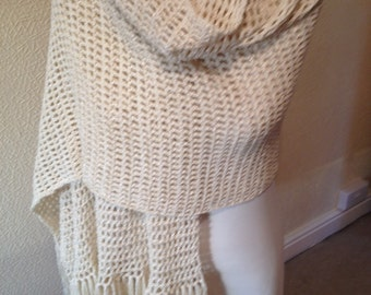 Luxury Cream Crochet Evening Shawl/ Sparkly Ladies Wrap/Cruise wear/Women's Crochet Stole-Ready to Ship