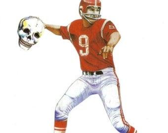 Football Decor, Sports Decor, Athletic Man Gift for Men, Masculine, Creepy Skull, Man Cave Wall Decor, Original Collage Art