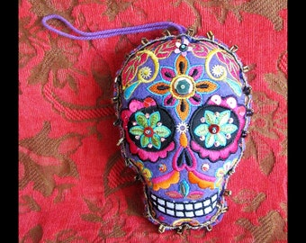 Dia de Los Muertos Ornament, PURPLE Stuffed Felt Sugar Skull, Machine Embroidery, Handsewn Sequins Beads Lace| Add Pinback to Wear as Brooch
