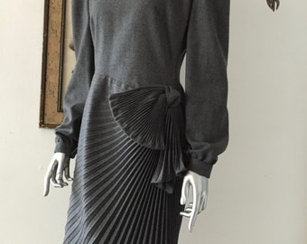 Vintage Paul-Louis Orrier Designer Gray Wool Dress with Pleated Bow