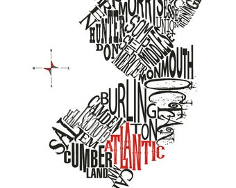 """Customizable - New Jersey Counties Map 11 x 14"""" Print"""