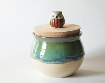 Green Jar with Red Owl - Ceramic Jar with vintage owl lid - Glazed in Oatmeal and Green Glazes