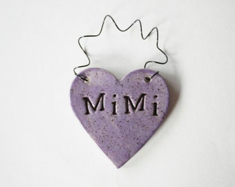 Mimi Ornament - ceramic clay - heart shaped - lilac, lavender, personalized, handmade, ready to mail