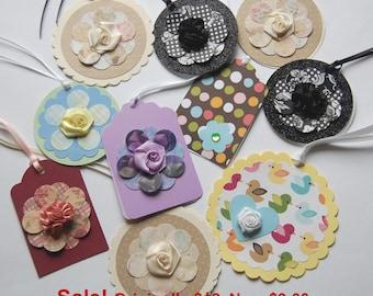 Assorted Gift Tags, Handmade Gift Tags, Polka Dot Gift Tags, Flower Gift Tags, All Occasion Tags, Birthday Gift Tag, Handmade Tags Set