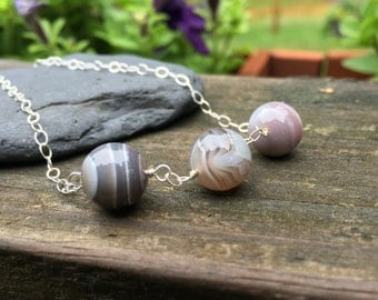 Banded Agate Natural Stone Sterling Silver Gemstone Necklace 18 inches