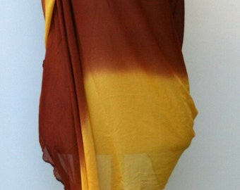 Indian scarf, Ethnic Vintage Scarf, Dupatta stole scarf, yellow gold rust brown sequins cover up, Bohemian shoulder shawl, scarf, fall color