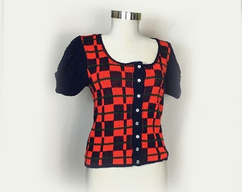 Vintage Women's Short Sleeve Sweater, 1960's, Mod, Red and Navy Plaid, Knit, Puff Sleeves, Scoop Neckline, Button Front, Small/Medium