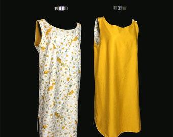 Vintage Dress, 1960's, Sleeveless Shift, Button Shoulder, Reversible, Cotton, Yelow Print, Gold, Summer, Medium/Large